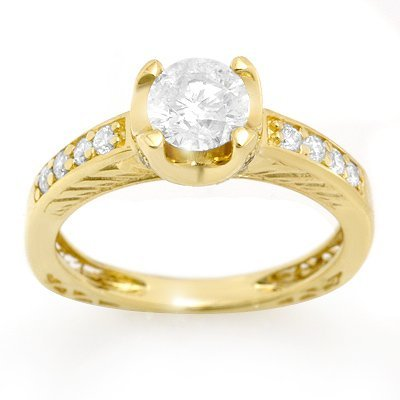 Solitaire 1.10ctw ACA Certified Diamond Ring 14K Gold