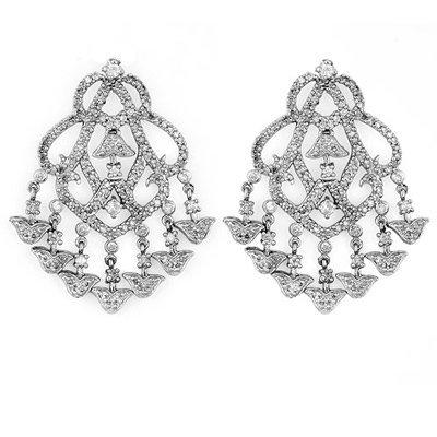 Certified 4.0ct Diamond Chandelier Earrings Gold 14K W