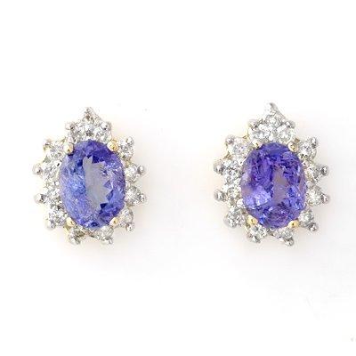 Earrings 4.25ctw ACA Certified Diamond & Tanzanite 14K