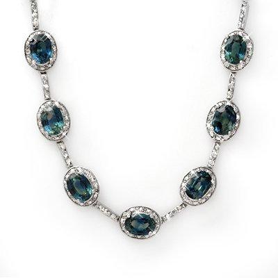 Necklace 31.0ctw ACA Certified Diamond & Blue Sapphire