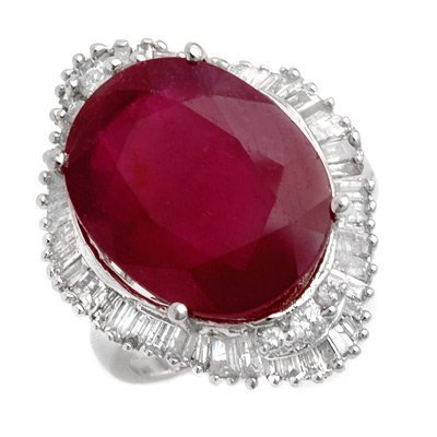 Famous 15.0ctw ACA Certified Diamond & Ruby Ring Gold