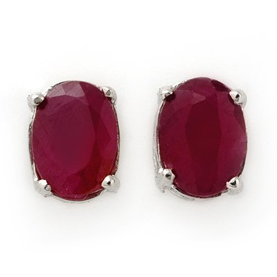 Fine 1.5ctw Ruby Stud Earrings White Gold