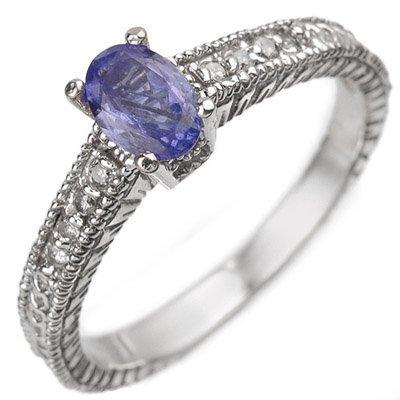 Certified 0.66ctw Diamond & Tanzanite Ring White Gold