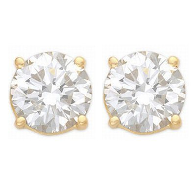 Solitaire 1.25ctw Diamond Stud Earrings Gold