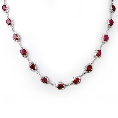 Certified 27.0ctw Diamond & Ruby Necklace White Gold