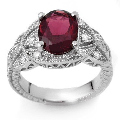 Fine 3.25ctw Certified Diamond & Pink Tourmaline Ring