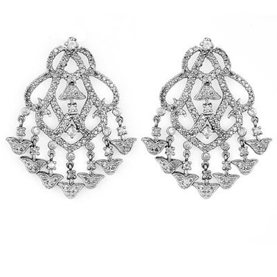 Certified 4.0ct Diamond Chandelier Earrings Gold 14K W