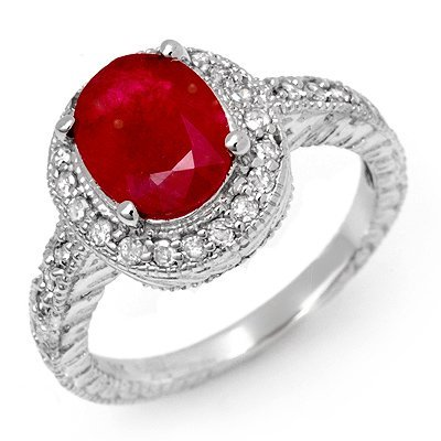 ACA Certified 2.50ct Diamond & Ruby Ring 14K White Gold