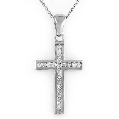 Cross Necklace 0.50ctw ACA Certified Diamond 14K Gold