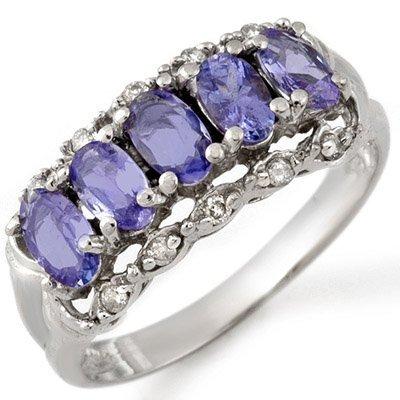 Five-Stone 1.8ct Diamond & Tanzanite Ring