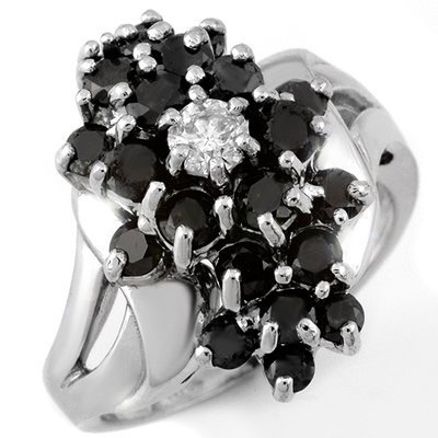 Certified 2.25ctw White & Black Diamond Ring White Gold