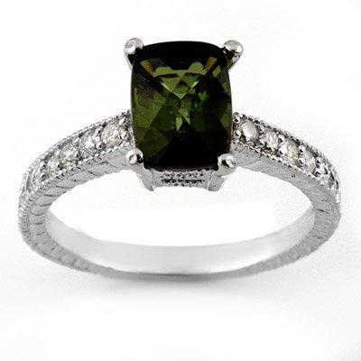 Ring 2.15ctw ACA Certified Diamond & Green Tourmaline