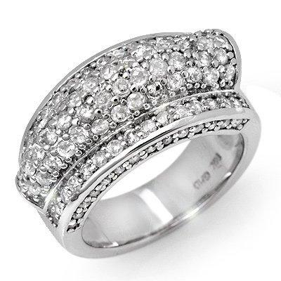 Certified 2.0ct Diamond Anniversary Ring 14K White Gold