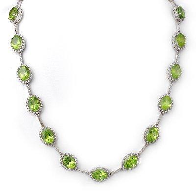 Fine 45.0ctw ACA Certified Diamond & Peridot Necklace