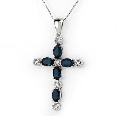 Necklace 3.15ctw ACA Certified Diamond & Blue Sapphire