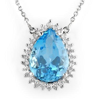 Necklace 14.80ctw ACA Certified Diamond & Blue Topaz