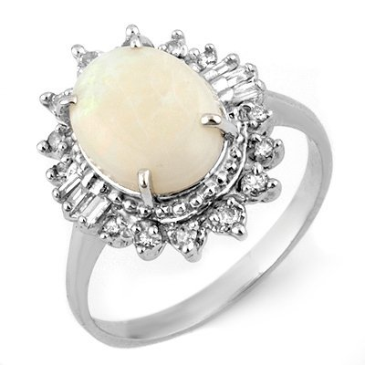 Certified 3.45ctw Diamond & Opal Ring in White Gold