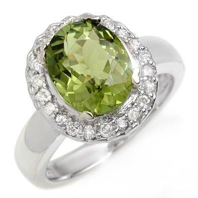 ACA Certified 3.40ctw Diamond & Green Tourmaline Ring