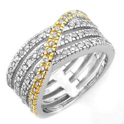 Famous .80ctw ACA Certified Diamond Band Two-Tone Gold