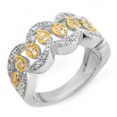 Fashion 0.50ctw ACA Certified Diamond Band 2-ToneGold
