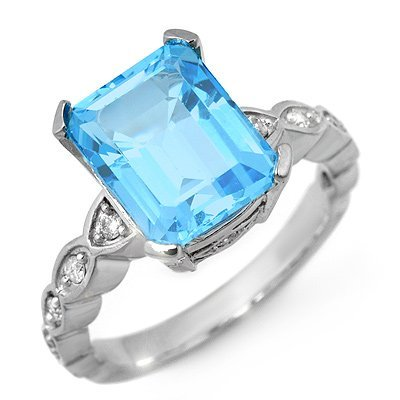 Fine 5.25ctw ACA Certified Diamond & Blue Topaz Ring