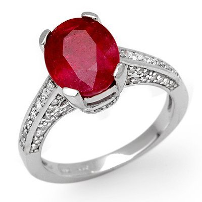 Fine 5.0ctw Certified Diamond & Ruby Ring White Gold