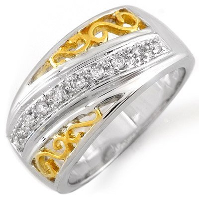 Right-Hand 0.17ctw ACA Certified Diamond Ring Two-Tone