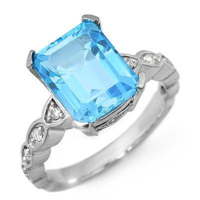 Fine 5.25ctw ACA Certified Diamond & Blue Topaz Ring