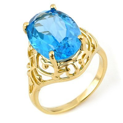 Famous 8.0ct ACA Certified Blue Topaz Ring Yellow Gold