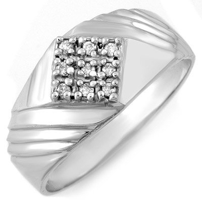 Fine 0.15ct ACA Certified Diamond Men's Ring White Gold
