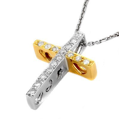Famous 0.17ctw ACA Certified Diamond Cross Necklace