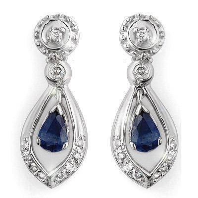 Certified 1.36ctw Diamond & Blue Sapphire Earrings Gold