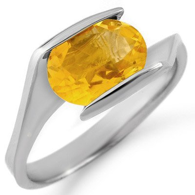 Solitaire 2.0ctw Citrine Ring White Gold