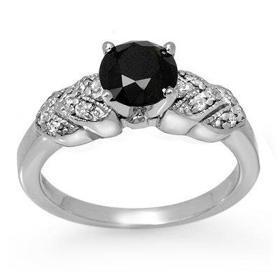 Certified 1.75ctw White & Black Diamond Ring 14K Gold