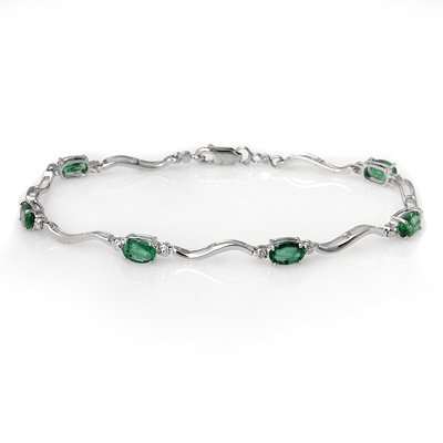 ACA Certified 3.02ctw Diamond & Emerald Tennis Bracelet