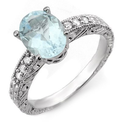 Certified 2.43ctw Diamond & Aquamarine Ring 14K Gold