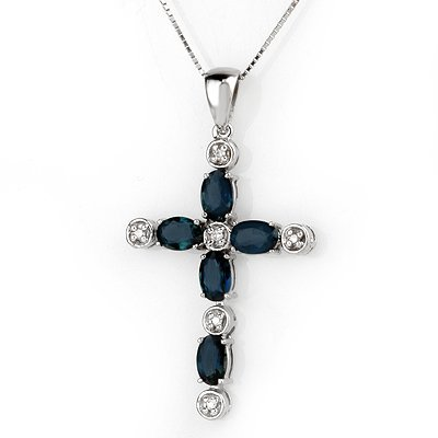 Necklace 3.15ctw ACA Certified Diamond & Blue Sapphire
