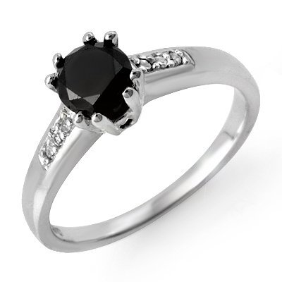 Certified 1.10ctw White & Black Diamond Ring 14K Gold