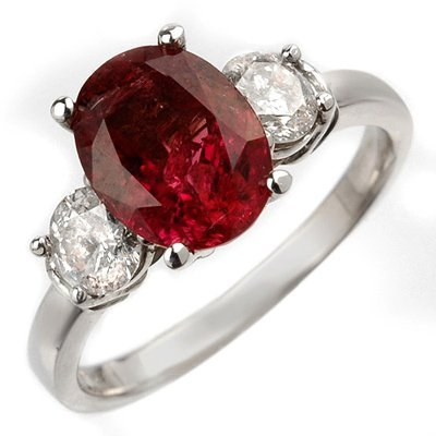 Fine 3.25ct Diamond & Rubellite Ring 14K White Gold