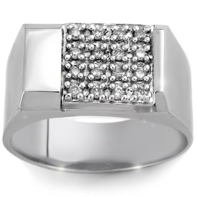 ACA Certified 0.50ctw Diamond Men's Ring White Gold