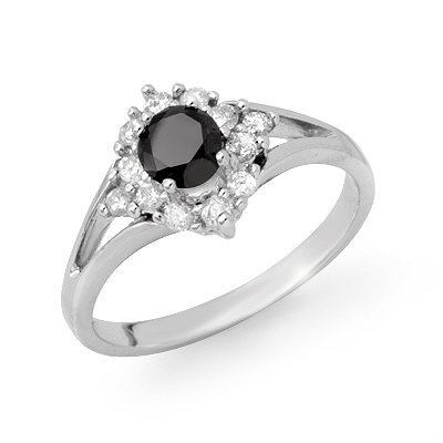 Certified .85ctw White & Black Diamond Ring White Gold