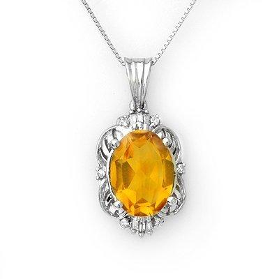 5.8ctw Diamond & Citrine Necklace Gold