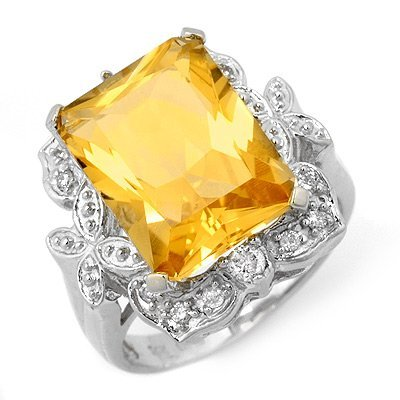 Famous 9.25ctw ACA Certified Diamond & Citrine Ring