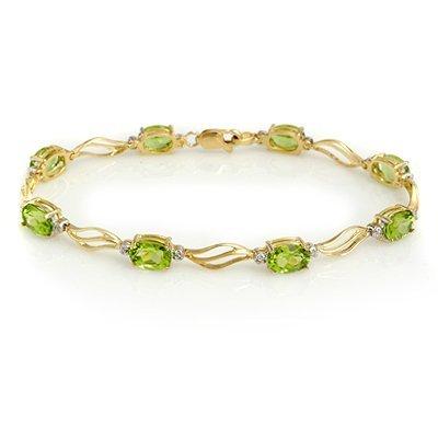 Fine 7.02ctw ACA Certified Diamond & Peridot Bracelet