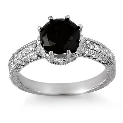 Certified 2.0ctw White & Black Diamond Ring 14K Gold