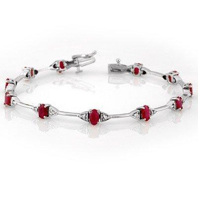 ACA Certified 2.30ct Diamond & Ruby Bracelet White Gold