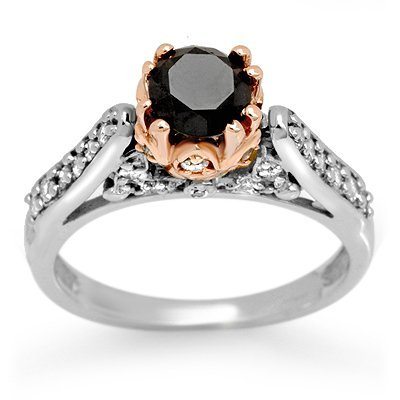 Certified 1.40ctw White & Black Diamond Ring 14K Gold