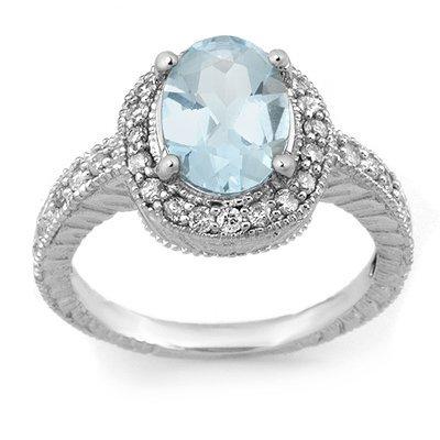 Fine 2.90ct ACA Certified Diamond & Aquamarine Ring 14K