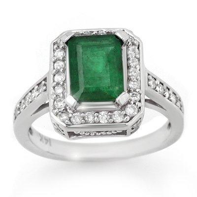 Famous Reproduction 2.0ct Diamond & Emerald Ring 14K