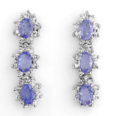 Certified 4.38ct Diamond & Tanzanite Earrings 14K Gold